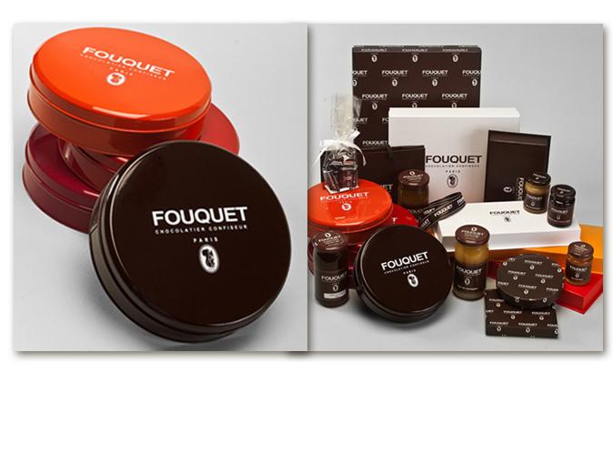 Mood board Design gourmet : création des boites métal création de packaging de la gamme des chocoats et bonbons