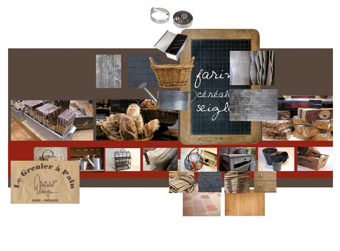 Mood board Design gourmet : Le Grenier à Pain, les 34 boulangeries de Michel Galloyer.