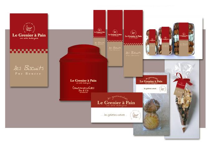 Mood board Design gourmet : création d'une gamme de packagings et d'étiquettes pour les boulangeries.