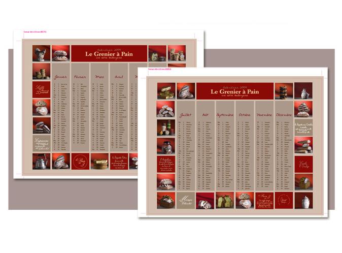 Mood board Design gourmet : création d'un calendrier pour les boulangeries.